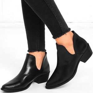 Steve Madden Austin Black Leather Cut Out Booties